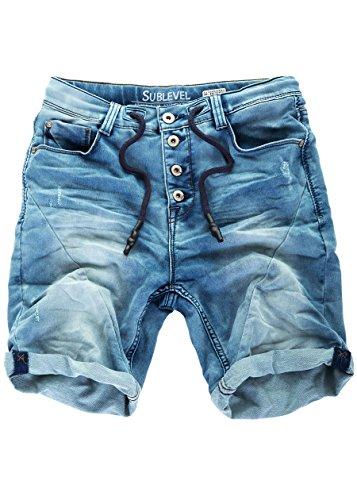 Sublevel Jogg Jeans Shorts Herren Kurze Hose Denim Sommer Jogger Bermuda Chino (Blau-KD11, W30)