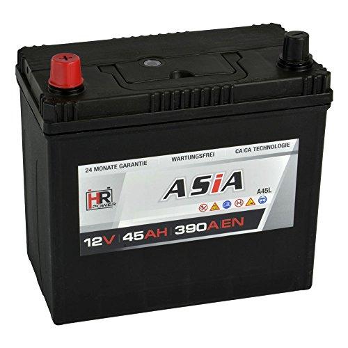 Preisvergleich Produktbild HR HiPower ASIA Autobatterie 12V 45Ah Japan Pluspol Links Starterbatterie ersetzt 35Ah 40Ah 50Ah