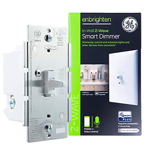 GE Z-Wave Plus Smart Lighting Control Light Dimmer Switch, Toggle Style, in-Wall, White, Repeater and Range Extender, Zwave Hub Required- Works with SmartThings Wink and Alexa, 14295