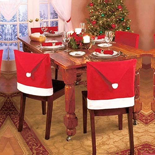 AmyGline 12PCS Santa Red Hat Chair Covers Christmas Decorations Dinner Chair Xmas Cap Sets - Dinner-stühle Red