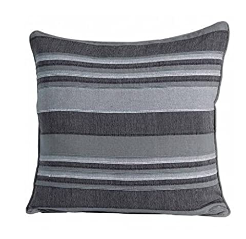 Homescapes Morocco Striped Filled Cushion 24 x 24 Inches Grey Charcoal Light Grey 100% Cotton Cover and Well Filled Pad 60 x 60 cm Coordinating with Rajput Throws and Curtains Easy care Washable at