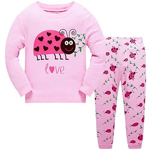 Pijama para niñas y bebés con diseño de Unicornio y Sirena, de Manga Larga, 2 Piezas, para Ropa de niños de 2 a 10 años Rosa Mariquita Rosa. 1-2 Años