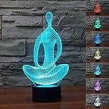 Neuheit Abstrakt 3D Yoga Vermittlung Nachtlicht 7 Farbe LED Ändern Touch Schalter Schreibtisch Lampe Art Skulptur Light Weihnachten Geschenk Valentinstag Kinder Geschenke Dekoration
