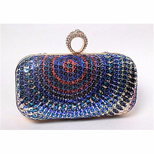 KAFEI Les femmes de mariage sac de soirée vintage en plastique satin formel perles d'impression de diamants petite bourse, bleu