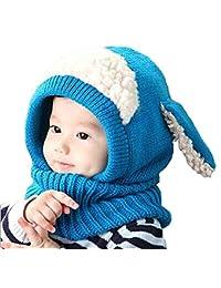 Formesy Unisex Bambino Autunno Inverno Maglia di Lana Carino Animale Cane  Paraorecchie Sciarpa Cappello Cappelli Cappuccio 9888f2d3a27b