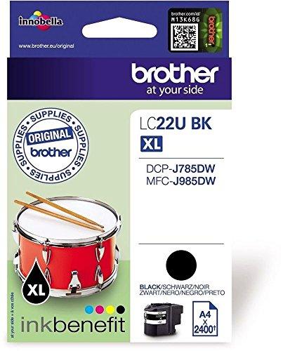 Brother Original XL-Tintenpatrone LC-22UBK schwarz (für Brother MFC-J985DW und DCP-J785DW)