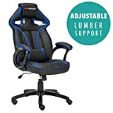 GTFORCE ROADSTER 1 SPORT RACING CAR OFFICE CHAIR, LEATHER, ADJUSTABLE LUMBAR SUPPORT GAMING DESK BUCKET (Blue)