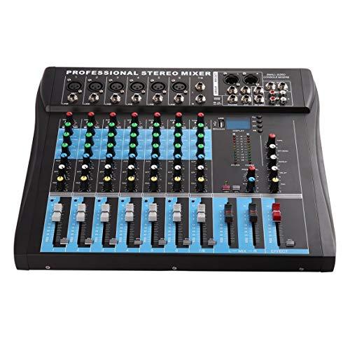 CT8 8-Kanal-Stereo-Mischpult Live-USB-Studio Audio-Sound-Konsole Netzwerk Ankergerät Vocal-Effekt-Prozessor (schwarz)