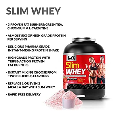 LA Muscle Slim Whey: Great tasting high grade protein with 3 proven triple action fat burners. Suitable for both men and women. Available in two mouth watering and easy mixing flavours. An amazing 50g of quality protein per serving. Controls appetite. Fee