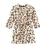 ECHERY Unisex Kinder Mädchen Jungen Kapuzen-Bademantel Weiche Coral-Fleece-Schlafanzug Morgenmantel Nachtwäsche Pajamas Größe 120 Leopard