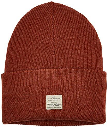 Jack & jones jacvintage knit beanie, cuffia uomo, rosso (chili oil detail:one size), taglia unica
