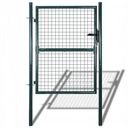 Festnight Gartentür Gartentor Zauntür Wellengitter Tor aus Stahl 85,5x200 cm/100x250 cm Grün