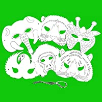 Blue Frog Toys 6 Plain Card Jungle Animal Face Masks - Colour in Create Your Own Design