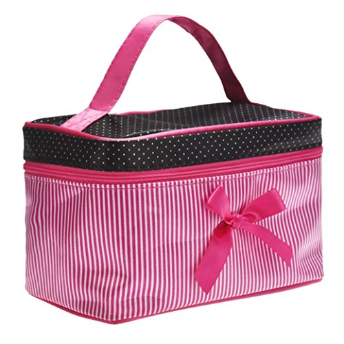 Internet Carré d'arc Stripe sac cosmétique Hot Pink