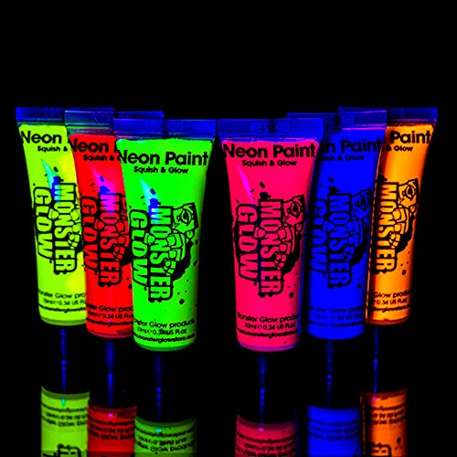 uv-monster-glow-neon-face-and-body-paint-10ml-set-of-6-tubes-fluorescent