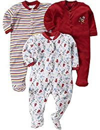 Gopuja New Born Baby Multi-Color Long Sleeve Cotton Sleep Suit Romper for Boys and Girls Set of 3 (RED, 0-3 Months)
