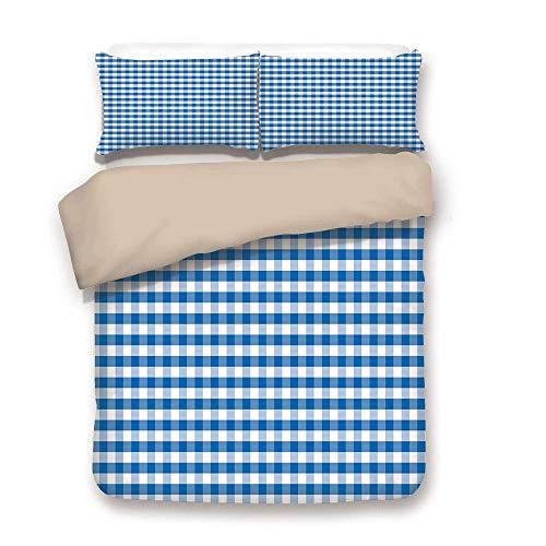 Copripiumino, a quadretti, monocromatico a quadretti classico cultura country design a griglia antiquariato decorativo, blu bianco, decorativo 3 pezzi a letto set da 2 guanciali cuscino intero / queen