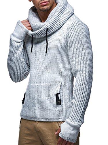 Leif Nelson Herren Strick-Pullover Strick-Pulli mit Schalkragen Moderner Woll-Pullover Langarm-Sweatshirt Slim Fit, Hell Grau, XXL