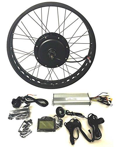 "theebikemotor 48V1500W Hub Motor Elektro-Fahrrad Umbausatz Electric Bike Conversion Kit 4.0 Fat Rim + LCD + Tire (26\"" x4.0 Rear Wheel+Shimano Disc Brake+7 Speed Gear)"
