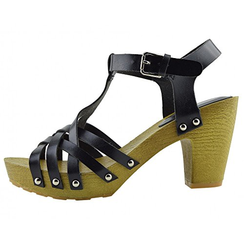 Kick Footwear - Damen-Block-Heels Cut Out Open Back Sommer-Weiße Sandalen Schwarz