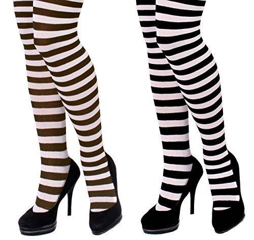 Damen gestreift Strumpfhose Kostüm Zubehör - perfekt für Halloween Kostüme - 2 Styles verfügbar: schwarz & weiß oder braun & weiß - Größen: Standard und XL - schwarz und weiß, (Strumpfhose Zubehör Halloween)