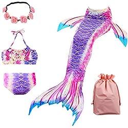 Lx-Top Queue de sirène Enfant Mermaid Bikini 3 pièces Maillot de Bain Princesse