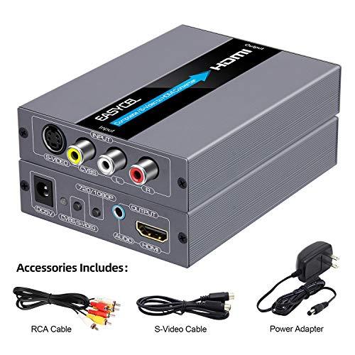 EASYCEL Cinch Svideo zu HDMI Konverter, RCA Composite CVBS AV oder Svideo + R/L Audio Eingang zu HDMI Ausgang, Upscale-Konverter, unterstützt 720P / 1080P Output Switch für N64, PS2, Wii, DVD -