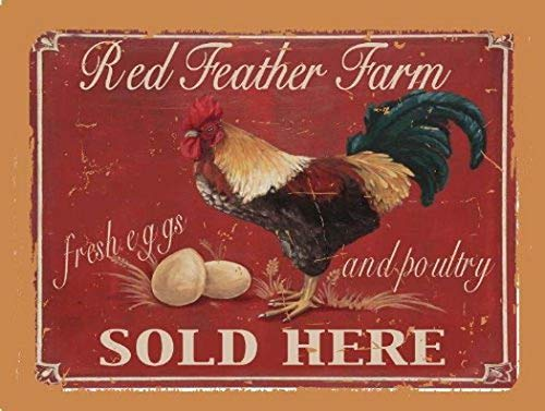 MENYRURed Feather Farm, Fresh Eggs and Poultry Metal Sign, Rooster Farm Fresh Rooster