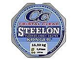 Konger - Filo da pesca Cristal Clear, con rivestimento in fluorocarbonio, 0,12-0,50mm, 150m, monofilo super forte-, trasparente, 0,40mm / 15,40kg