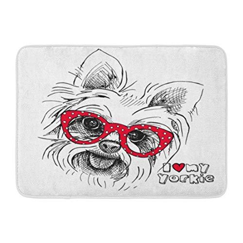 Kanaite Fußmatten Badteppiche Outdoor/Indoor Fußmatte Red Yorkie Porträt von Hund Yorkshire Terrier Brille Welpe Tierrasse Badezimmer Dekor Teppich Badteppich -