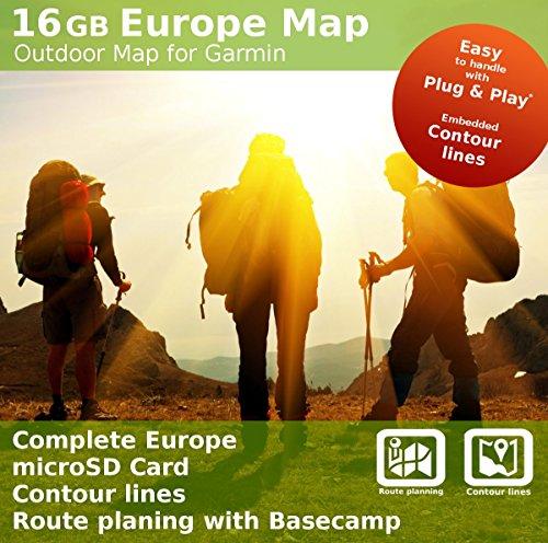 Europa Topo mapa–Tarjeta microSD de 16GB compatible con Garmin Oregon 300, 400, 450, 450t, 550, 550t, 600, 600T, 650, 650t, 700