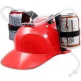 Neuheit Platz Guzzler Trinken Helm–Dosenhalter Tränke Hat Cap mit Stroh für Bier und Soda–Party Fun–Rot