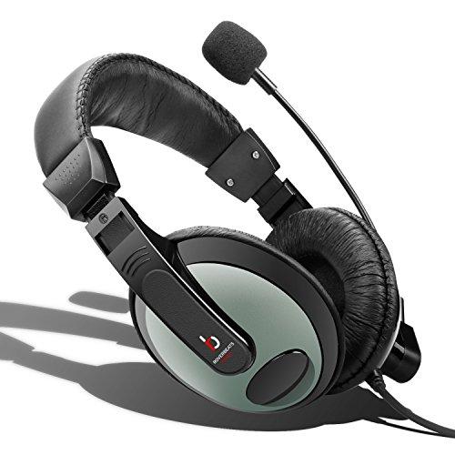 Etekcity RoverBeats Bravo professionellen über Ear Stereo Headset Kopfhörer Headset mit Mikrofon, Headset Splitter, Schwarz/Grau