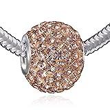 MATERIA XXL Kettenanhänger Kristall rosa apricot - Strass Beads Kugel für Halskette 12x16mm #1085