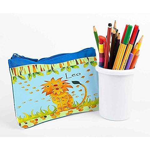 Personalised Pencil, matita caso, Back To School, Scuola-Astuccio di peluche a forma di leone Leo