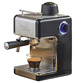 Coffee Machine Espresso Cappuccino Latte Dispenser with Milk Frother, 3.5 Traditional Italian Bar Barista Style, 800 Watts by Cook Professional (Black)