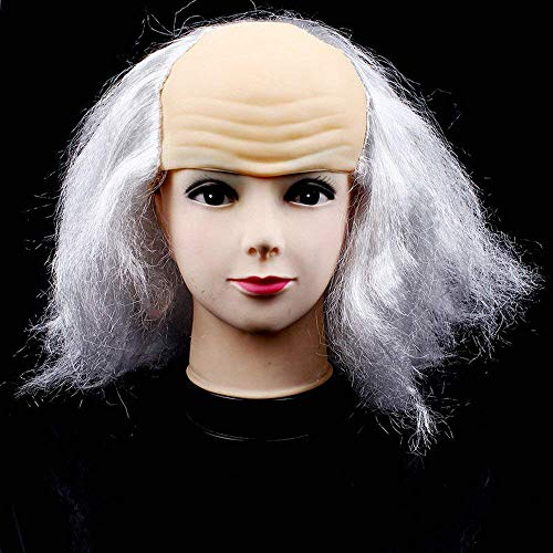 (Qiusa Halloween Maskerade liefert kahle kahle Perücke Perücke lustige alte Dame Perücke (Farbe : Weiß))