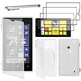 ebestStar - Coque Nokia Lumia 520 - Housse Etui Coque Silicone Gel Portefeuille + Stylet tactile + 3 Films protection écran, Couleur Transparent [Dimensions PRECISES de votre appareil : 119.9 x 64 x 9.9 mm, écran 4'']