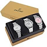Dezine 3 Pcs Combos Of Silver chain & white Coloured dial Quartz Watch For women DZ-CMB 8