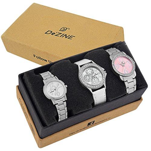 Dezine 3 Pcs Combos Of Silver chain & white Coloured dial Quartz Watch For women DZ-CMB 8 image - Kerala Online Shopping
