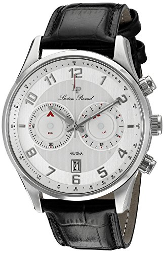 Lucien Piccard Navona men's Quartz Watch with Silver Dial Analogue Display and Black Leather Strap LP-11187-02S