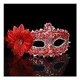 SCLMJ Halloween-Maskerade-Masken-Spitze-Seiten-Blumen-Halbe Gesichtsmaske Für Partei-Kleid, Silbernes Rot