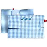 Windeltasche mit Namen für unterwegs in hellblauem Vichy Karo (bag in bag - Geburtsgeschenk Junge personalisiert)