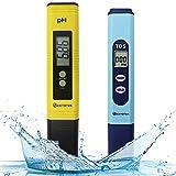 KETOTEK - Medidor de calidad del agua, medidor PH TDS 2 en 1 Kit con 0-14,00 PH y 0-9990 ppm Rango de medición para hidropónicos, acuarios, agua potable, sistema Ro, piscina y estanque de peces