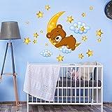 kina R00447 Adesivo murale per Bambini - Orsetto sulla Luna - Misure 30x120 cm - Decorazione Parete, Adesivi per Muro, Carta da Parati
