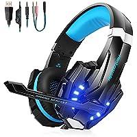 VTAKOL V9 Gaming Headset für PS4, 3.5mm Surround Sound Kabelgebundenes Gaming Kopfhörer mit Mikrofon, LED-Licht, Kopfhörer für Laptop, Xbox one, PC, Smartphone