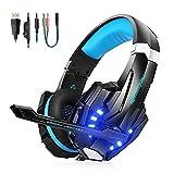 VTAKOL V9 Gaming Headset für PS4, 3.5mm Surround Sound Kabelgebundenes Gaming Kopfhörer mit Mikrofon, Buntes LED-Licht, Kopfhörer für Laptop, Xbox One, PC, Smartphone