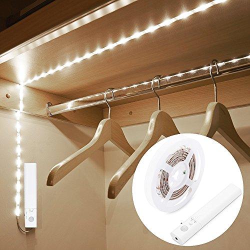 Tiras LED luminosa 1 m, blusea cintas LED con sensor de movimiento Luz nocturna para Armario, escaleras, pasillo, cocina, garaje etc-auto/on/Off (blanco cálido) (Luz Frío)