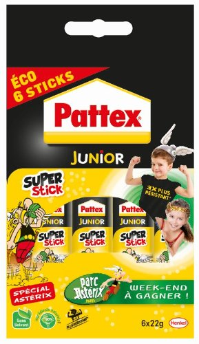 Pattex Junior Super stick Tube de colle Transparent - Super stick 22g - lot de 6