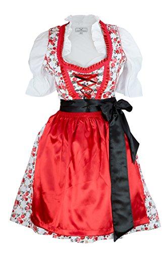Trachtenkleid Kleid 3 Teilig mit Dirndl Dirndlbluse Schürze Rot mit Blumen verziert Gr: 38 rot Wiesn BAVARIAN CLOTHES Midi Oktoberfest